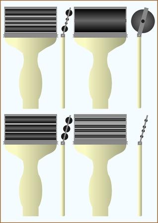 diameter: Roller per le impronte digitali, con differenti cilindri di diametro Vettoriali