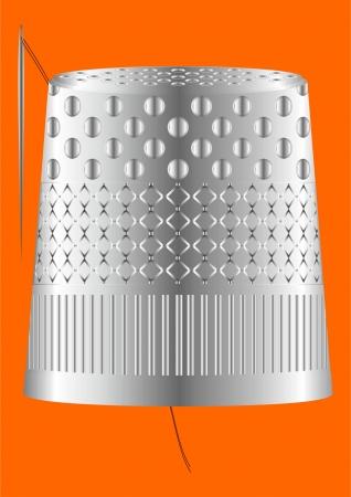 акцент: Устройство для шитья, против прокола, с нити и иглы на оранжевом фоне