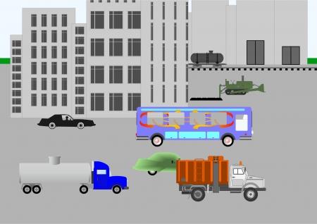Parte de la ciudad con edificios industriales y de transporte, con obras providencia particulares