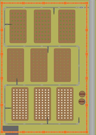 Plot of land with garden beds, a fence, and the pipeline for irrigation, on a green background