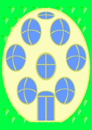 La imagen c�mica de la casa, en la figura como un huevo en un fondo verde