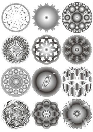 Image of various shapes as polygons and circles on a white background