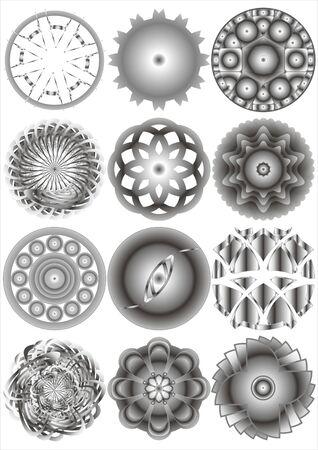 Imagen de varias formas como pol�gonos y c�rculos sobre un fondo blanco Vectores