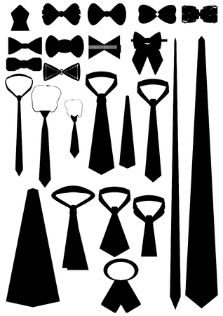 Necktie in different shapes and sizes on a white background  Illustration