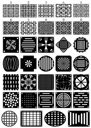 Diferentes rejillas, incluyendo matrices de n�meros, sobre un fondo blanco