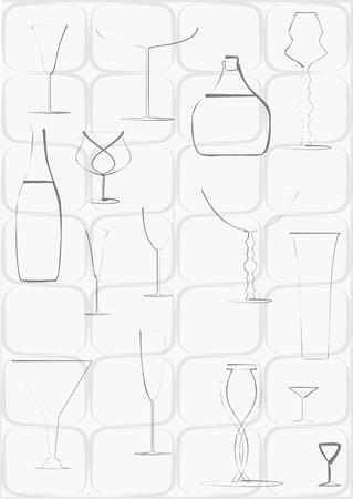 avant garde: Contour alcohol utensils on background loop of tiles