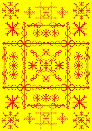 Types of red shapes and lines on a yellow background  Illustration