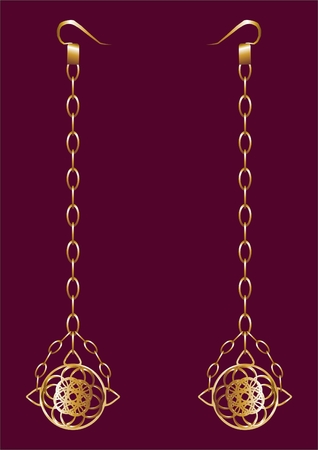 Gold earrings with semi sphere and chain on red velvet.