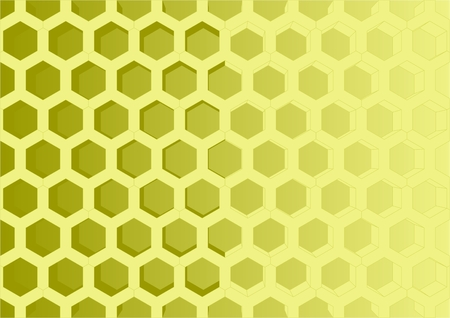 hexahedron: Connected hexagon honeycomb, on a yellow background. Illustration