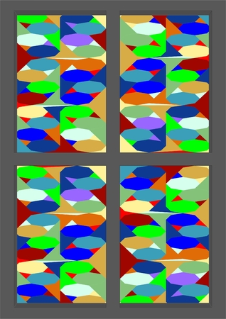 Wood frame windows of pieces of colored glass. Illustration