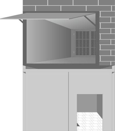 Types of garages, with open doors and gates are located one above the other.