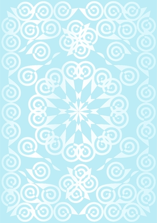 Patterns of spirals in the combined form of white on a blue background.