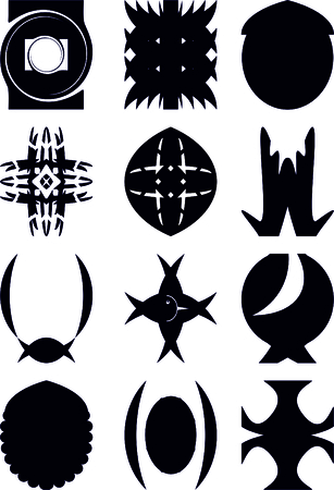 Examples for emblems, a black contour on a white background. Illustration