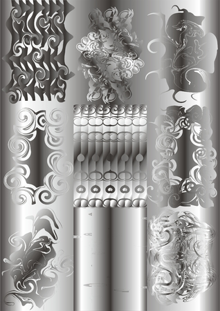 Types monograms in silver color on a gray background. Illustration