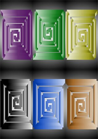 Helix as bulk rectangle in different colors on a gray background. Illustration