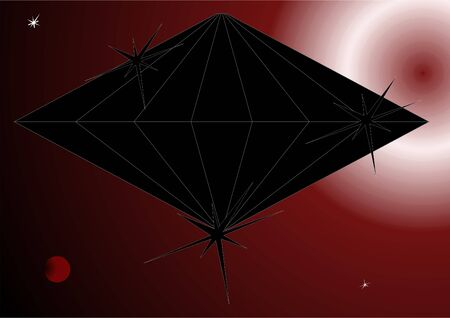 suspense: Geometric figure with a black sheen against the background of the cosmos.