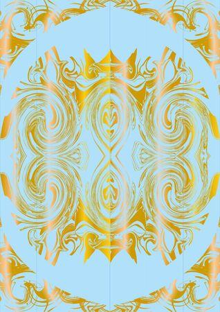 Monograma del modelo en oro, sobre un fondo azul. Vectores