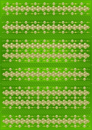 Thin thread with different types of beads on a green background.