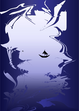 Misty dawn fishing with abstract frame on a blue background. Illustration