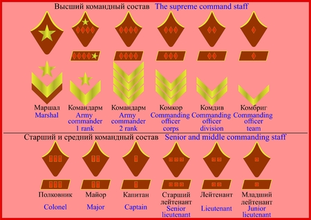 Insignia officers of the Red Army, to 1943. on a red background.