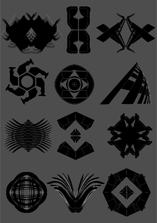 Examples of emblems, black with a white outline, on a gray background.