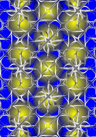 Metal yellow ball of decorative lattice, on a blue background.