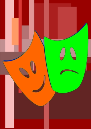 Actor tragedy and comedy masks on a colorful background.