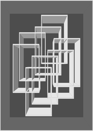 . Abstract, frames inserted into each other, on a gray background.
