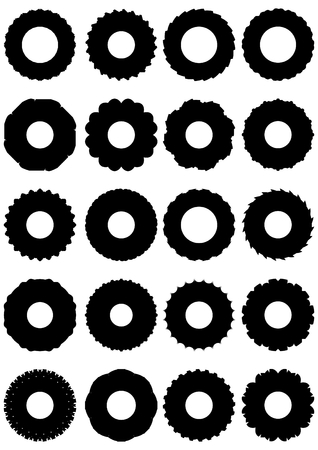 ledge: Rubber tires for truck wheels, on a white background, in outline form.