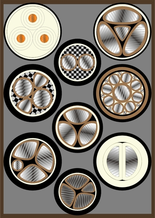 Types of electrical cables with various metal rods, sectional, on a gray background.