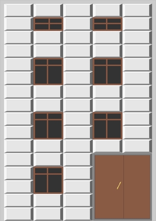 Multi-storey building with decorative blocks, ledges, on a gray background.