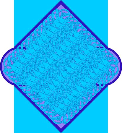 Location identical monograms on each other in the frame at an angle on a blue background. Illustration