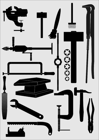 carpenter vise: Types of tools for the locksmith, carpenter, with a white outline, on a gray background. Illustration