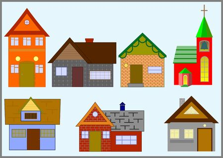 Houses with different architecture and purpose, small size, on a blue background.