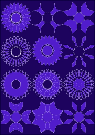 Different shapes, cut from the petals on a computer, purple background.