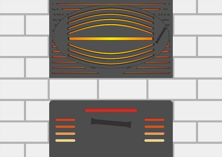 hinge: Doors with decorative trim on the stove of white brick, against fire. Illustration
