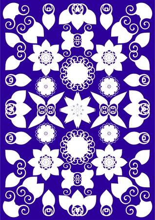 skew: Many different shapes of Monogram with a petal on a purple background.