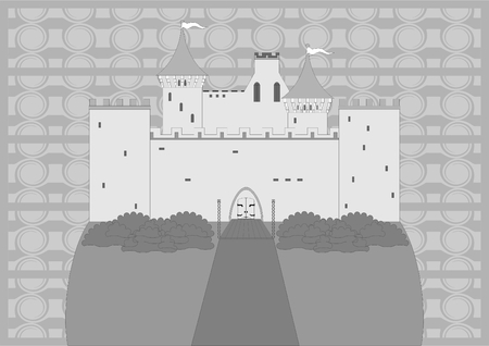Ancient castle on the hill, gray, monogram on the background.