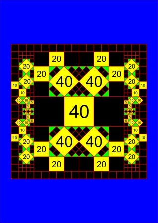 Pattern of squares arranged in proportion to the descending, on a black background.