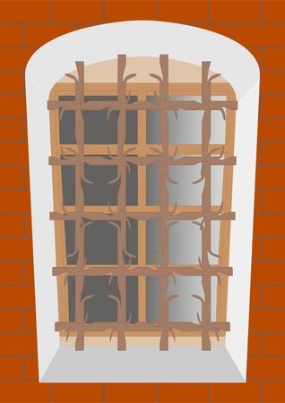Window bars on the window of an old house with a deep aperture. Illusztráció