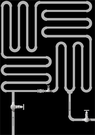 The pipeline in the form of zigzags with closed loop on a black background.