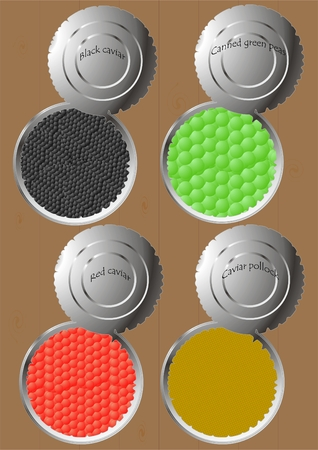 Cans with different kinds of caviar and green peas   of boards. Illustration