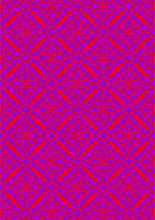 Figures from a square with a cross in the form of a lozenge, lilac on a red background. Illustration