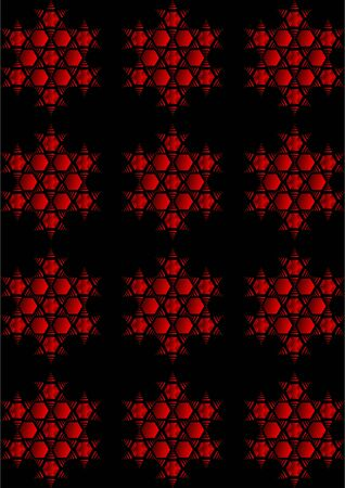 Red hexagon with a pattern with a star, on a black background. Illustration
