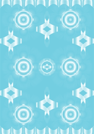 Line a wave with different shapes, and with a fine openwork mesh, on a blue background. Illustration