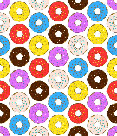 Donuts seamless pattern on white background. Cute sweet food baby background. Colorful design for textile, wallpaper, fabric, decor. Illustration