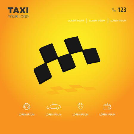 taxi  and icons for web site on a yellow background