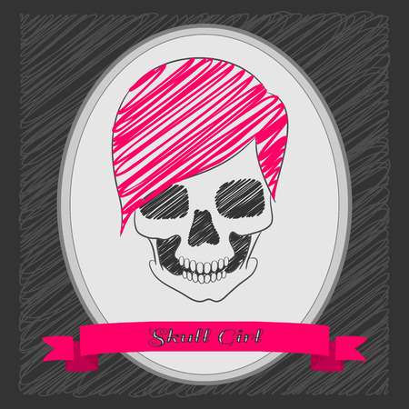 Cartoon skull girl. Pink hair. Oval frame with a ribbon . Graphite background