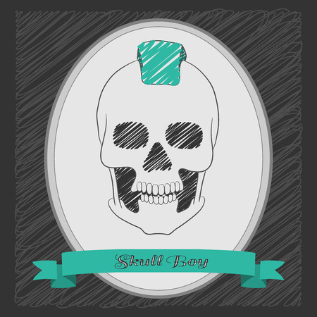 mohawk: Cartoon skull boy with a mohawk. Oval frame with a ribbon . Graphite background Illustration