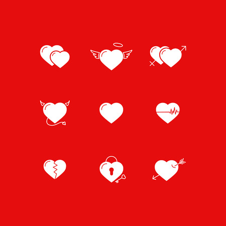 masculine: Hearts icons: set of love signs